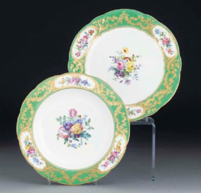 A SEVRES GREEN-GROUND DINNER-P