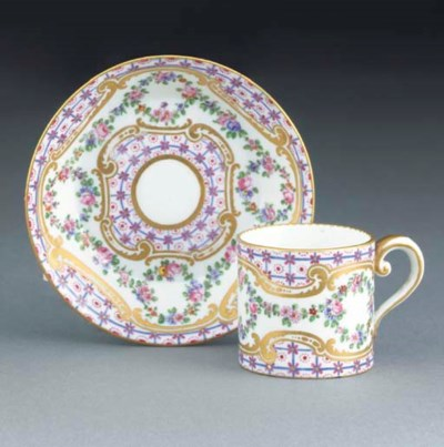 A SEVRES SMALL COFFEE-CAN AND