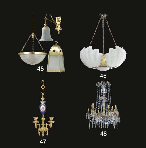 A FROSTED GLASS AND BRASS CEILING LIGHT