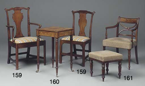 A mahogany armchair and side chair