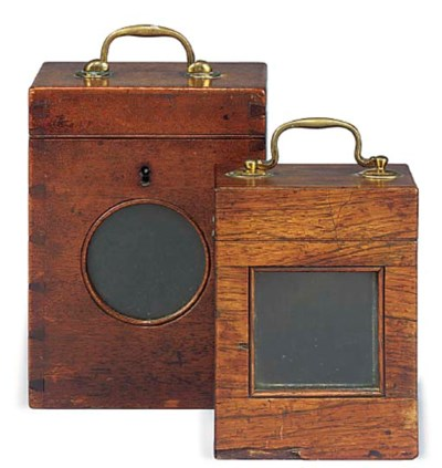 Two English travel clock boxes