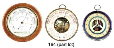 Six various aneroid barometers