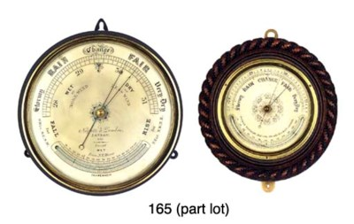 Four aneroid barometers and a