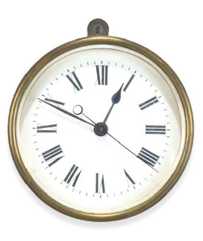 A French brass wall timepiece,