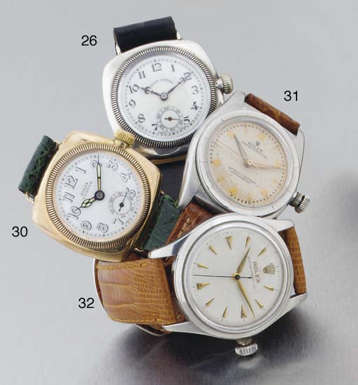 Rolex. An Early 9ct Gold Water Resistant Wristwatch of Railway Interest