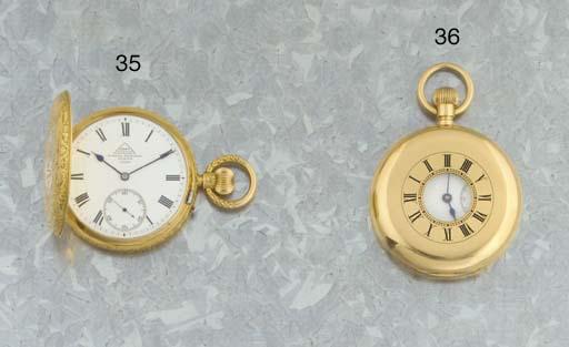 Johnson, Walker & Tolhurst. An 18ct gold half hunter lever pocketwatch with Kew Class 'A' Certificate