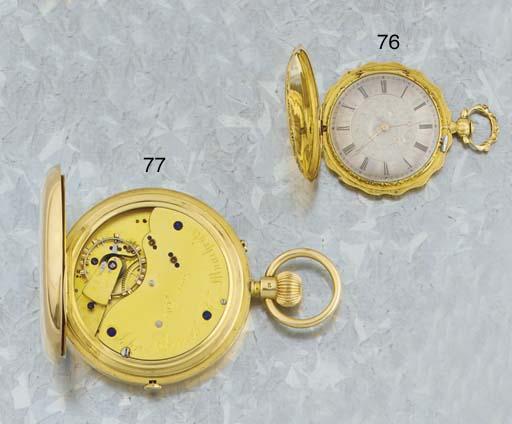 John Ashworth. An 18ct gold keyless hunter lever chronograph with free sprung balance