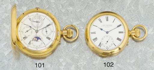 An 18ct Gold Grande and Petite Sonnerie Striking Open Face Clockwatch
