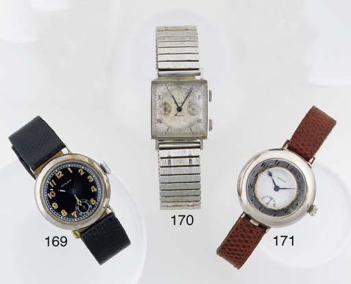 Rolex. An Early Silver Circular Cased Half Hunter Wristwatch