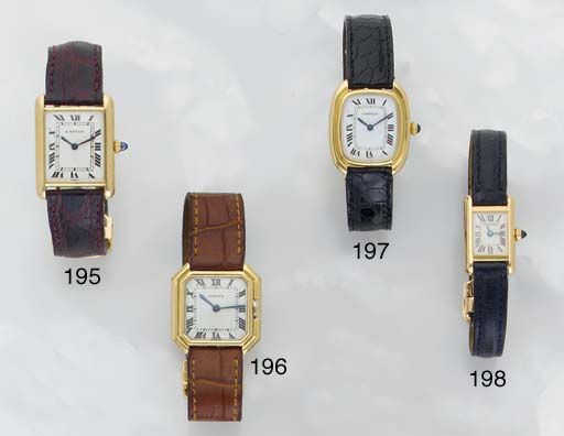 Cartier.An 18ct Gold Cushion Cased Wristwatch