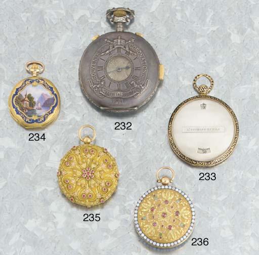 Ducommun-Sandoz. A gold and enamel keyless pendant watch