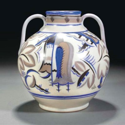 A CSA TWIN-HANDLED VASE BY TRU