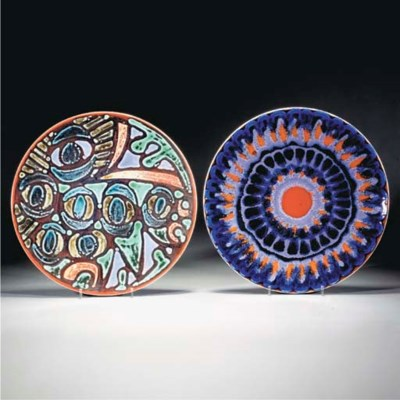 A POOLE POTTERY DELPHIS PLATE