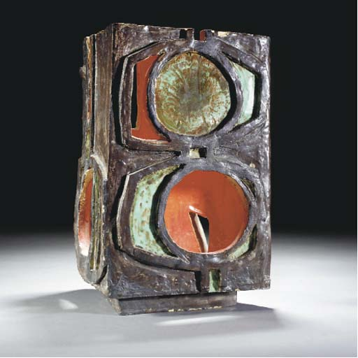 A POOLE SCULPTURAL VASE IN THE