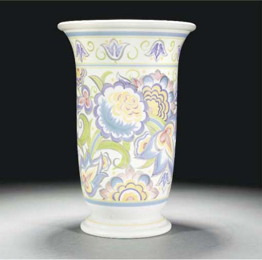 A POOLE POTTERY VASE PAINTED B