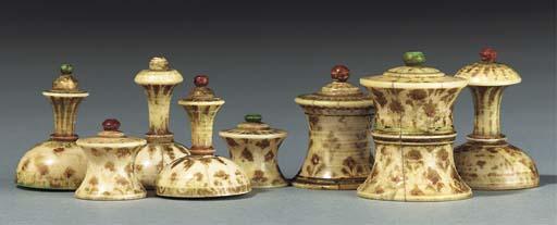 An Indian ivory bone chess set