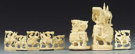 An Indian carved ivory 'John C