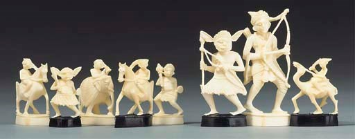 An Indian carved ivory figural