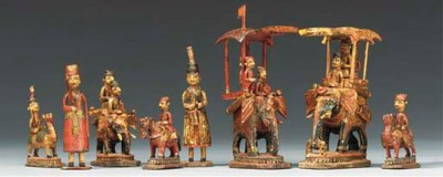 An Indian carved ivory and bon