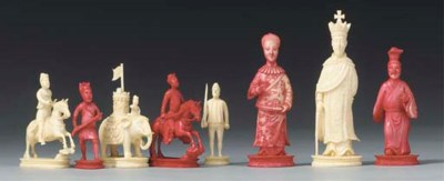 A Cantonese ivory figural ches
