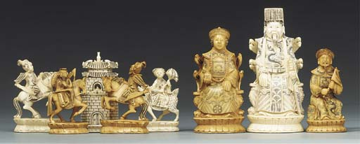 A Chinese export carved ivory