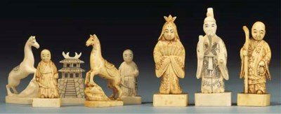 A Japanese ivory figural chess