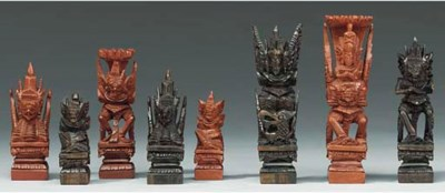 An Indonesian carved wood figu