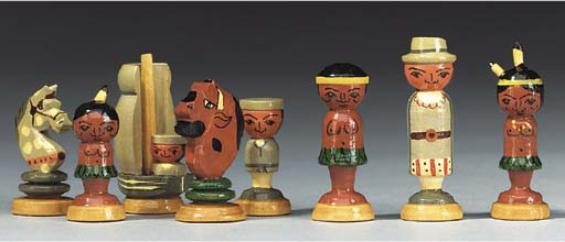 A painted wood figural chess s