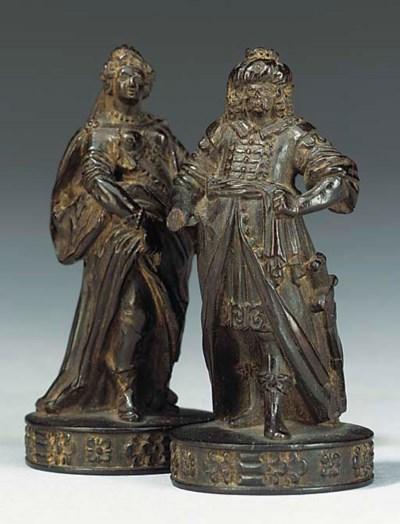 Two Flemish carved ebony chess