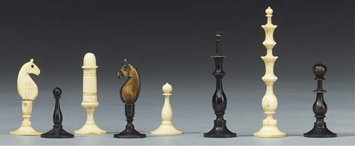 A German turned bone chess set
