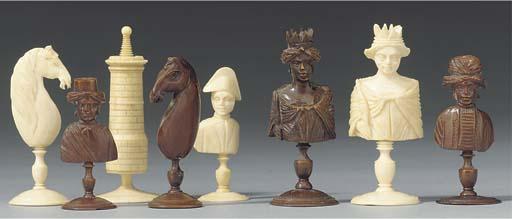 A Dieppe bone bust type chess