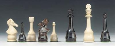 A German ivory and ebony chess