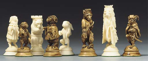 A German ivory chess set of Re