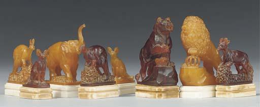 A Baltic amber animalier chess