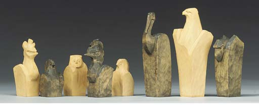 A carved wood chess set