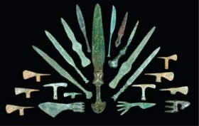 A GROUP OF WESTERN ASIATIC MINIATURE BRONZE SWORDS, DAGGERS