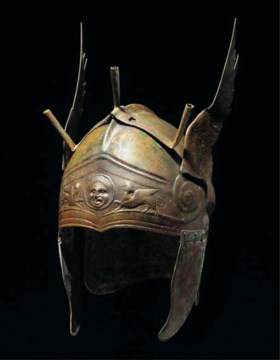 A CHALCIDIAN TYPE BRONZE WINGED HELMET