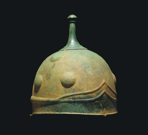 A CELTIC BRONZE HELMET
