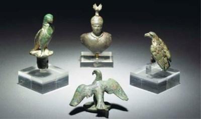 THREE ROMAN BRONZE EAGLES