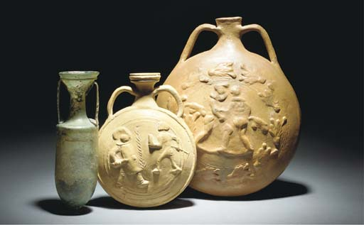 TWO ROMAN POTTERY PILGRIM FLAS
