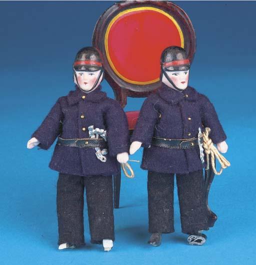 Two German bisque-head Firemen