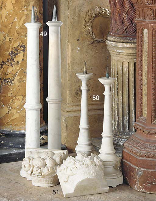 A PAIR OF CARRARA MARBLE AND M