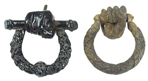 TWO ENGLISH CAST IRON DOOR KNO