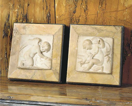 A PAIR OF ENGLISH STATUARY AND