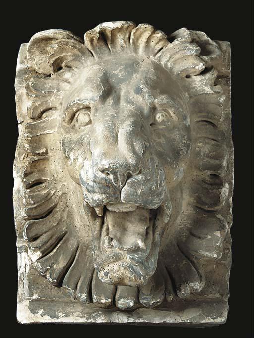 An English plaster lion mask c