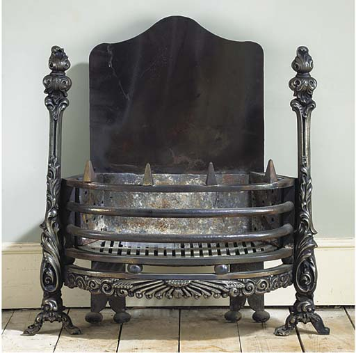 AN ENGLISH CAST IRON FIREGRATE