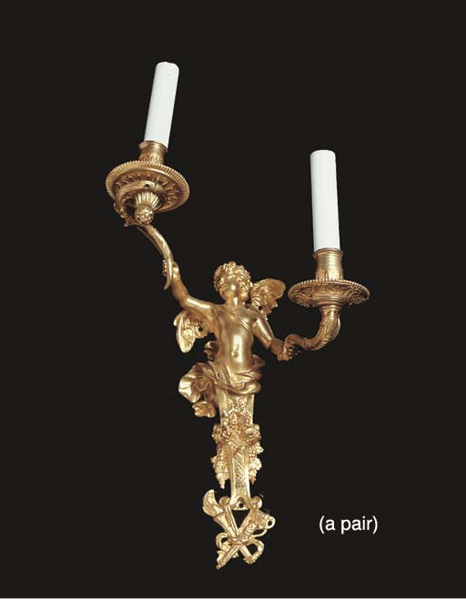 A PAIR OF FRENCH ORMOLU TWIN L