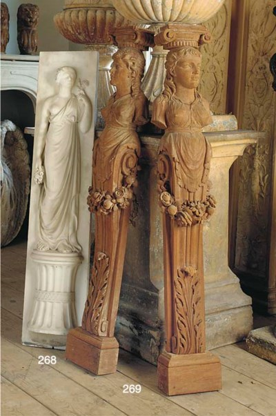 A STATUARY WHITE MARBLE CHIMNE