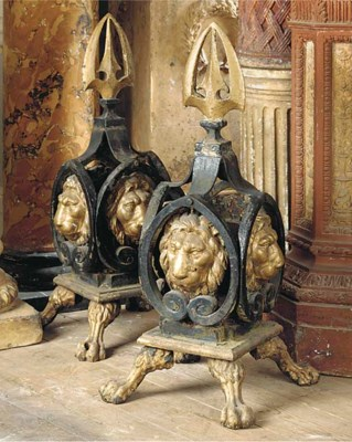 A PAIR OF CAST AND WROUGHT IRO