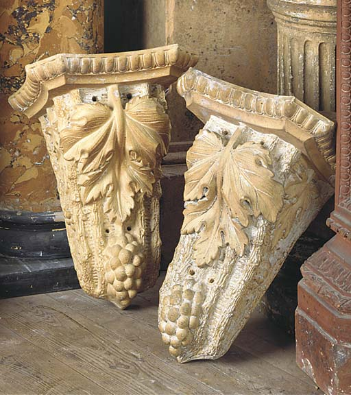 A PAIR OF ENGLISH TERRACOTTA B